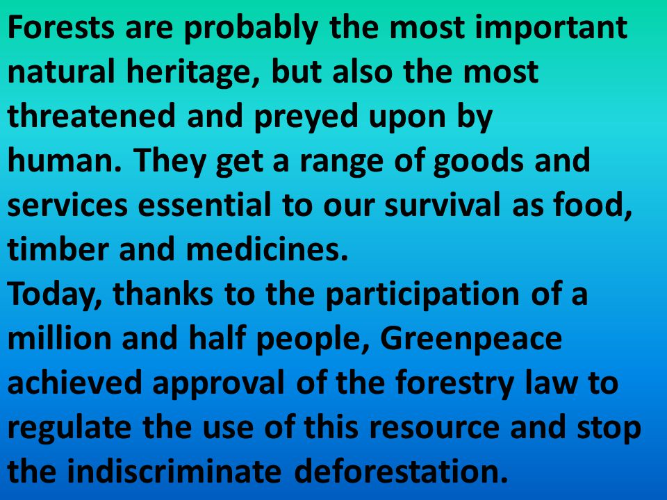 Forests are probably the most important natural heritage, but also the most threatened and preyed upon by human.