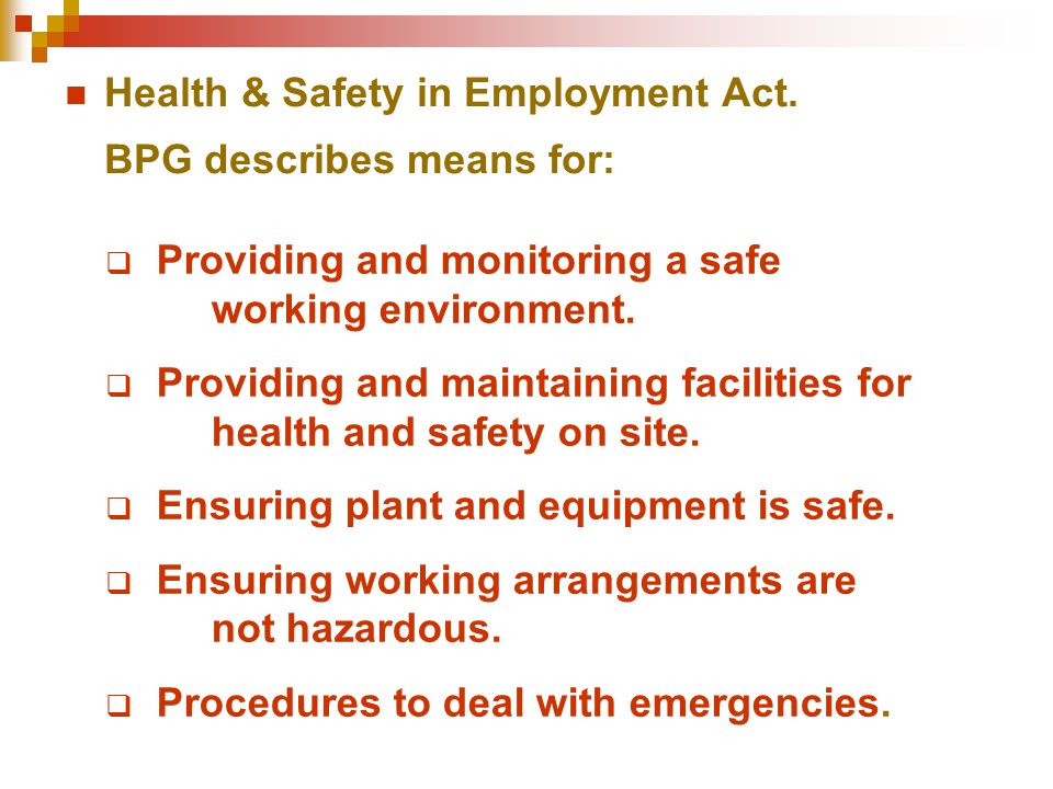 Health & Safety in Employment Act. BPG describes means for:  Providing and monitoring a safe working environment.  Providing and maintaining facilit