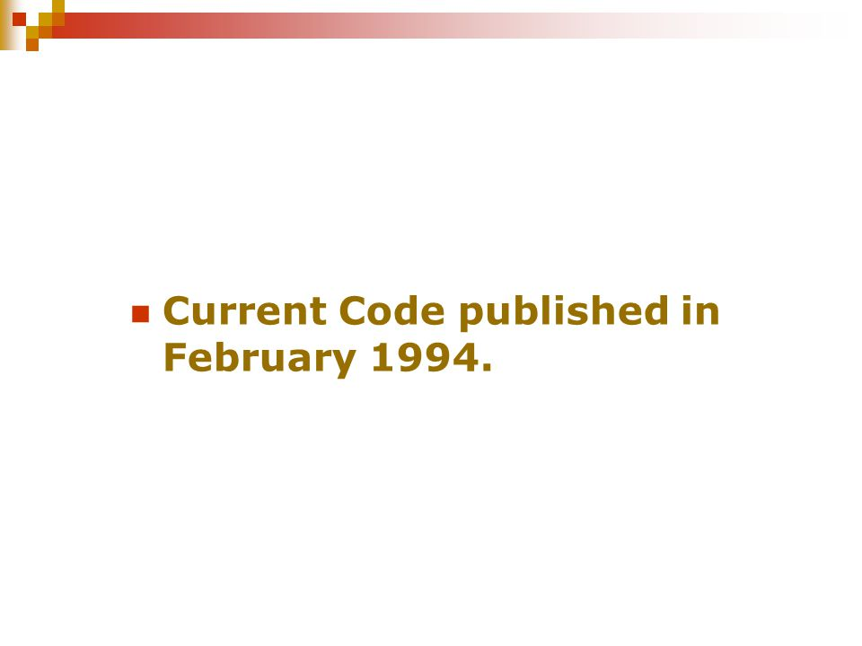 Current Code published in February 1994.