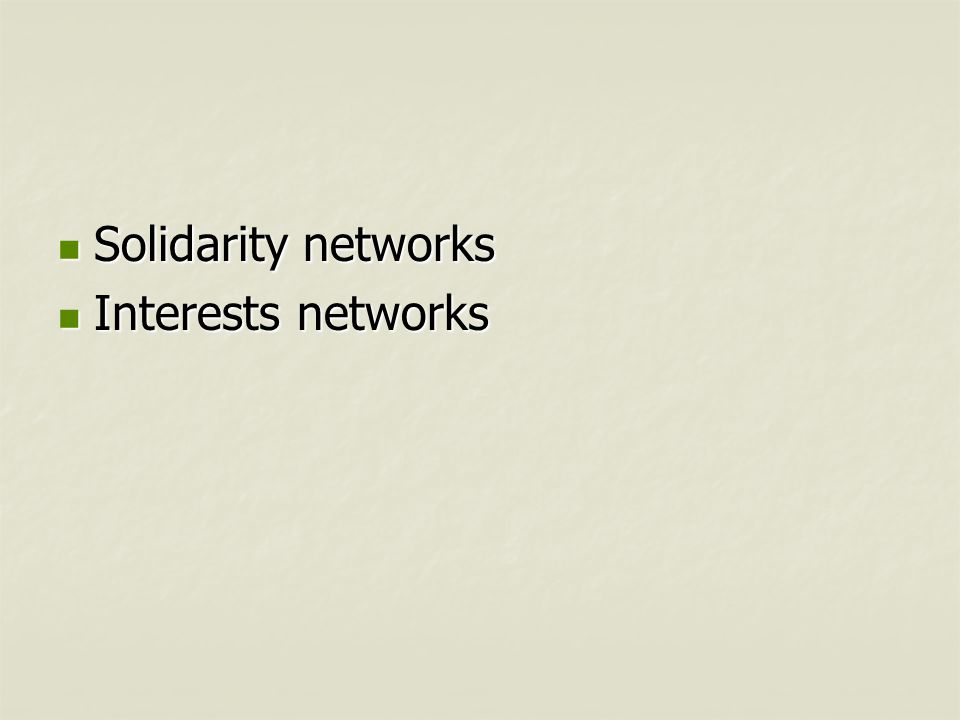Solidarity networks Solidarity networks Interests networks Interests networks