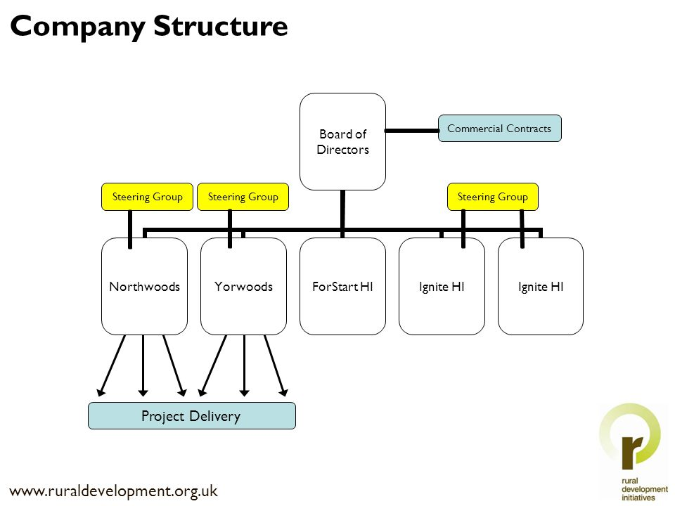 Steering Group Commercial Contracts Project Delivery www.ruraldevelopment.org.uk Company Structure
