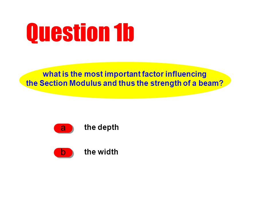 Question 1b the depth a the width b what is the most important factor influencing the Section Modulus and thus the strength of a beam