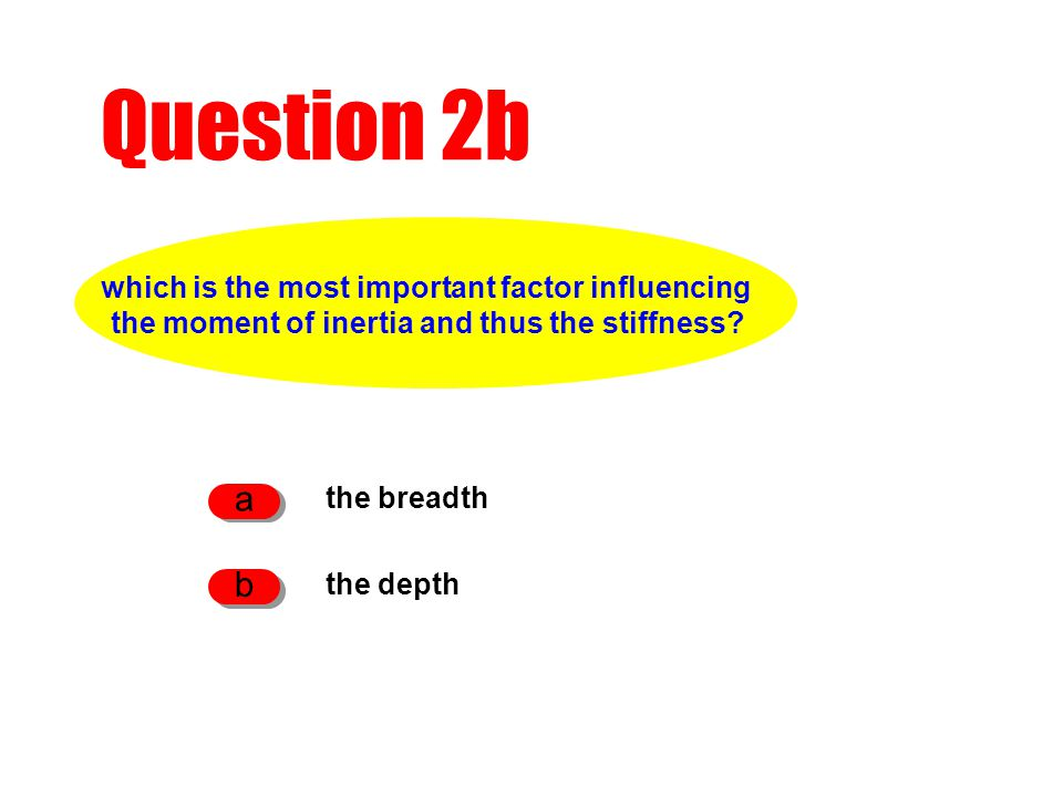 Question 2b the breadth a the depth b which is the most important factor influencing the moment of inertia and thus the stiffness?