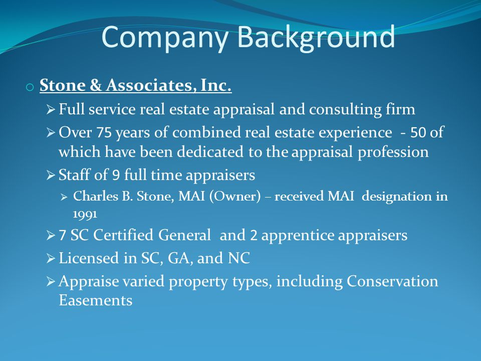Company Background o Stone & Associates, Inc.