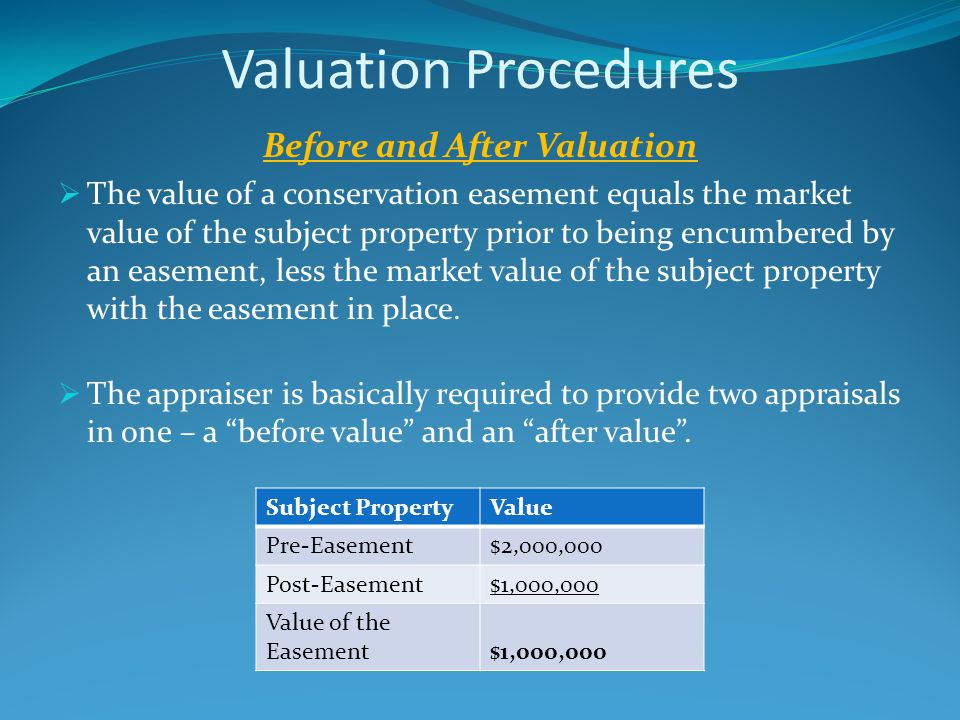 Valuation Procedures Before and After Valuation  The value of a conservation easement equals the market value of the subject property prior to being encumbered by an easement, less the market value of the subject property with the easement in place.