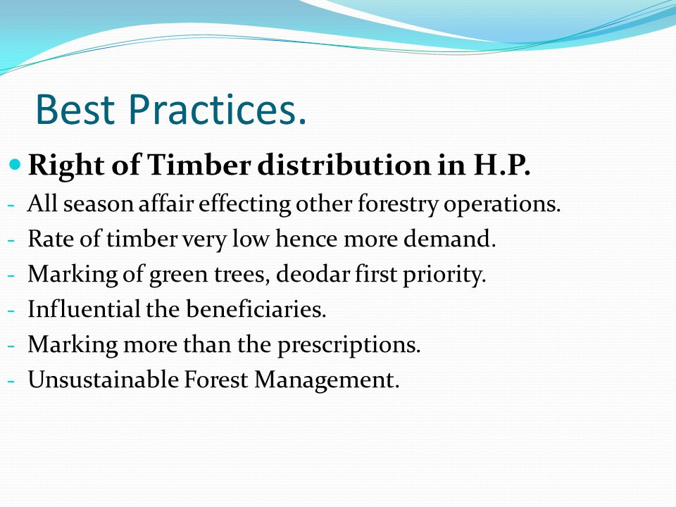 Best Practices.Right of Timber distribution in H.P.