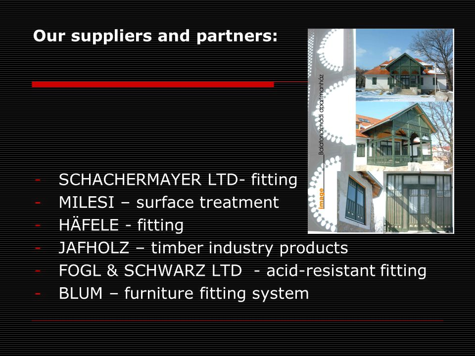 Our suppliers and partners: -SCHACHERMAYER LTD- fitting -MILESI – surface treatment -HÄFELE - fitting -JAFHOLZ – timber industry products -FOGL & SCHWARZ LTD - acid-resistant fitting -BLUM – furniture fitting system