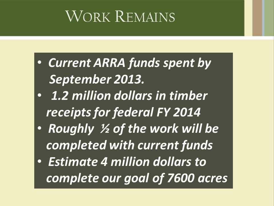 W ORK R EMAINS Current ARRA funds spent by September 2013.