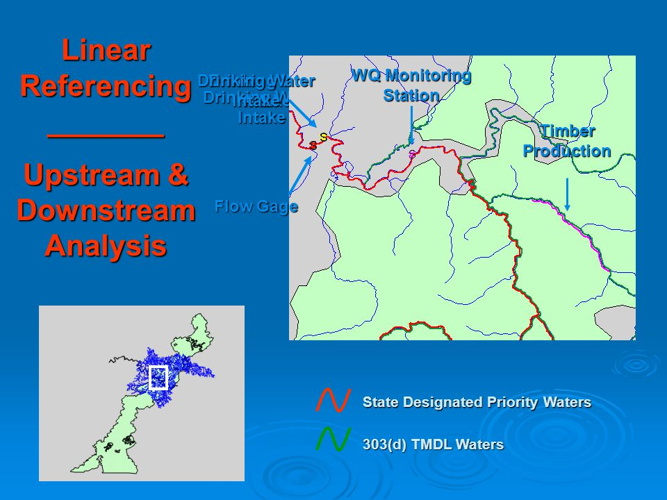 8.7 miles Drinking Water Intake Timber Production WQ Monitoring Station Drinking Water Intake Linear Referencing _______ Upstream & Downstream Analysis WQ Monitoring Station Drinking Water Intake Timber Production Flow Gage State Designated Priority Waters 303(d) TMDL Waters