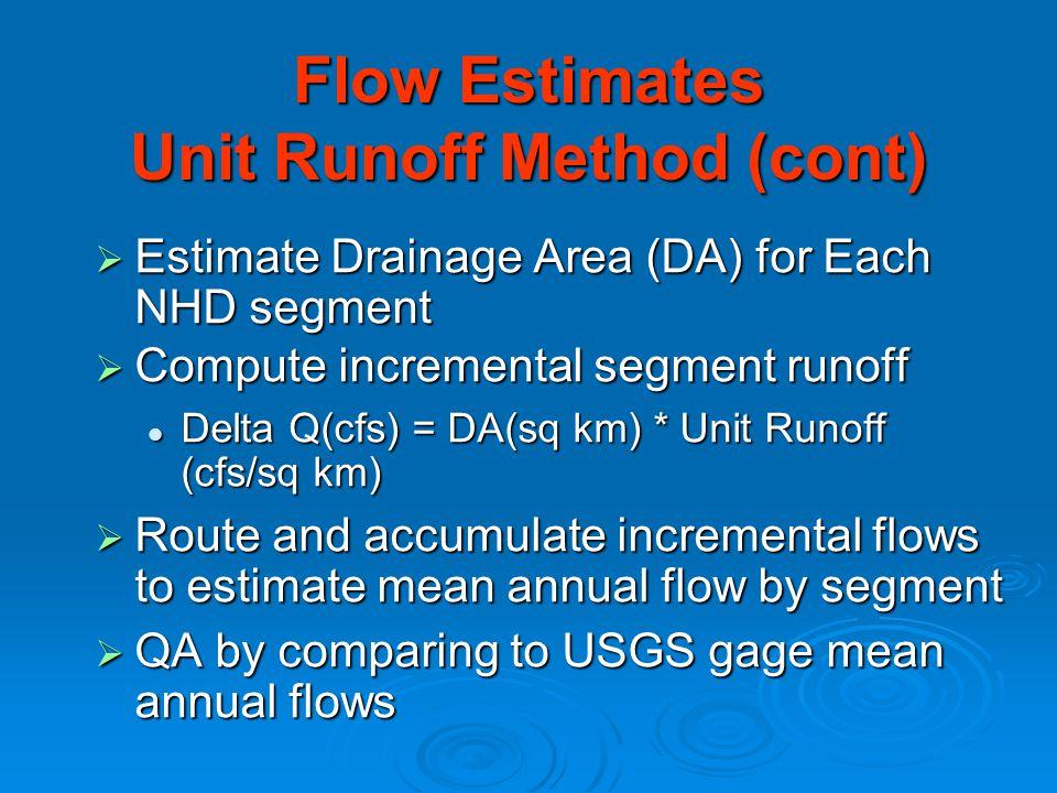  Estimate Drainage Area (DA) for Each NHD segment  Compute incremental segment runoff Delta Q(cfs) = DA(sq km) * Unit Runoff (cfs/sq km) Delta Q(cfs) = DA(sq km) * Unit Runoff (cfs/sq km)  Route and accumulate incremental flows to estimate mean annual flow by segment  QA by comparing to USGS gage mean annual flows Flow Estimates Unit Runoff Method (cont)