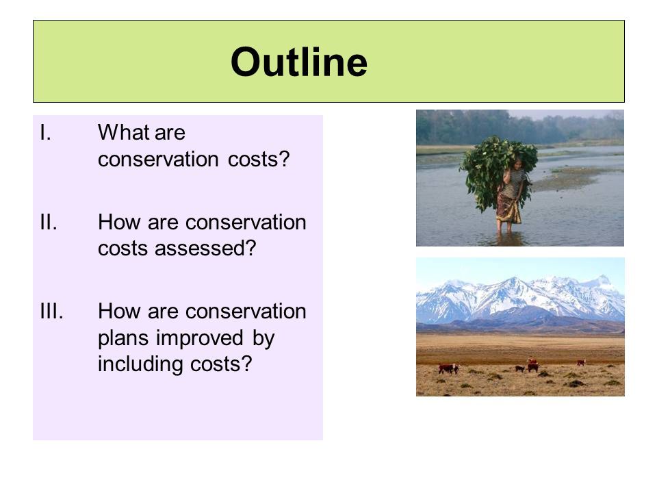 Outline I.What are conservation costs. II.How are conservation costs assessed.