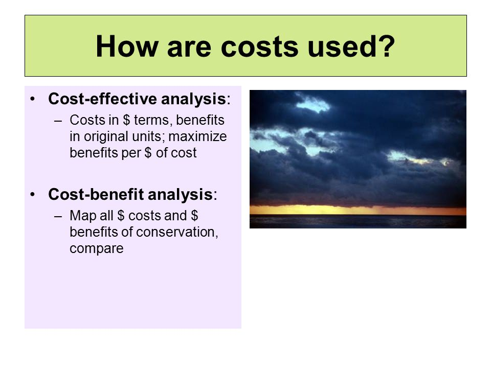How are costs used.