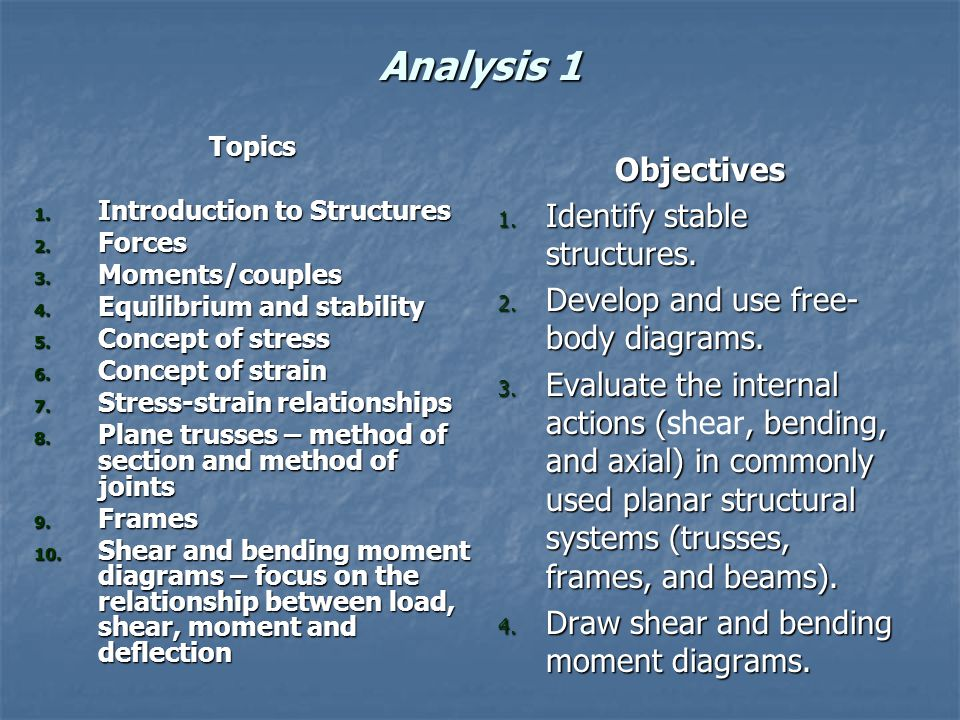 Analysis 1 Topics 1. Introduction to Structures 2.