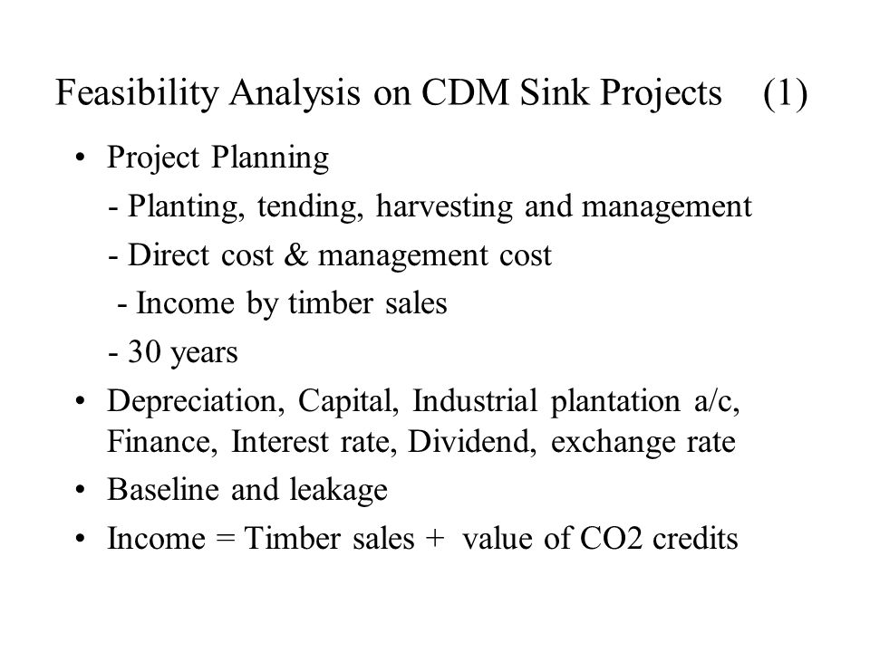 Feasibility Analysis on CDM Sink Projects (1) Project Planning - Planting, tending, harvesting and management - Direct cost & management cost - Income by timber sales - 30 years Depreciation, Capital, Industrial plantation a/c, Finance, Interest rate, Dividend, exchange rate Baseline and leakage Income = Timber sales + value of CO2 credits