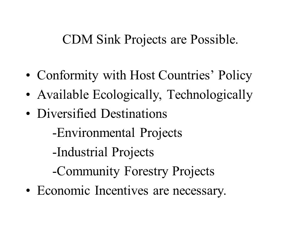 CDM Sink Projects are Possible.