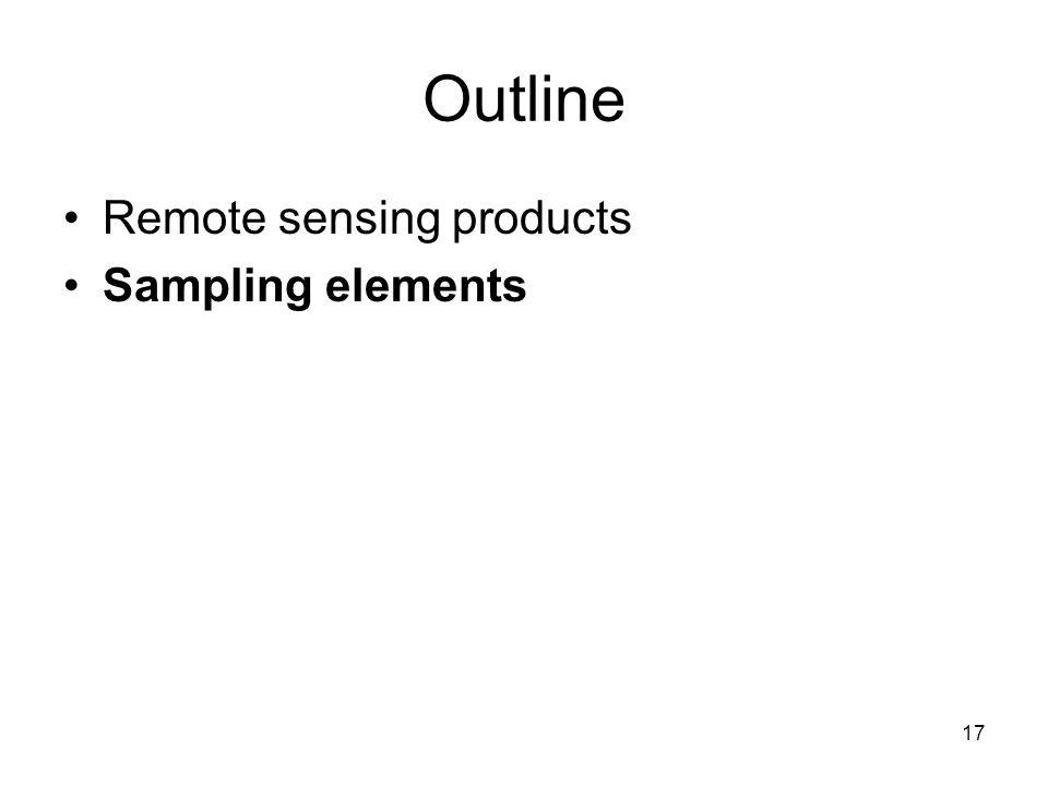 17 Outline Remote sensing products Sampling elements