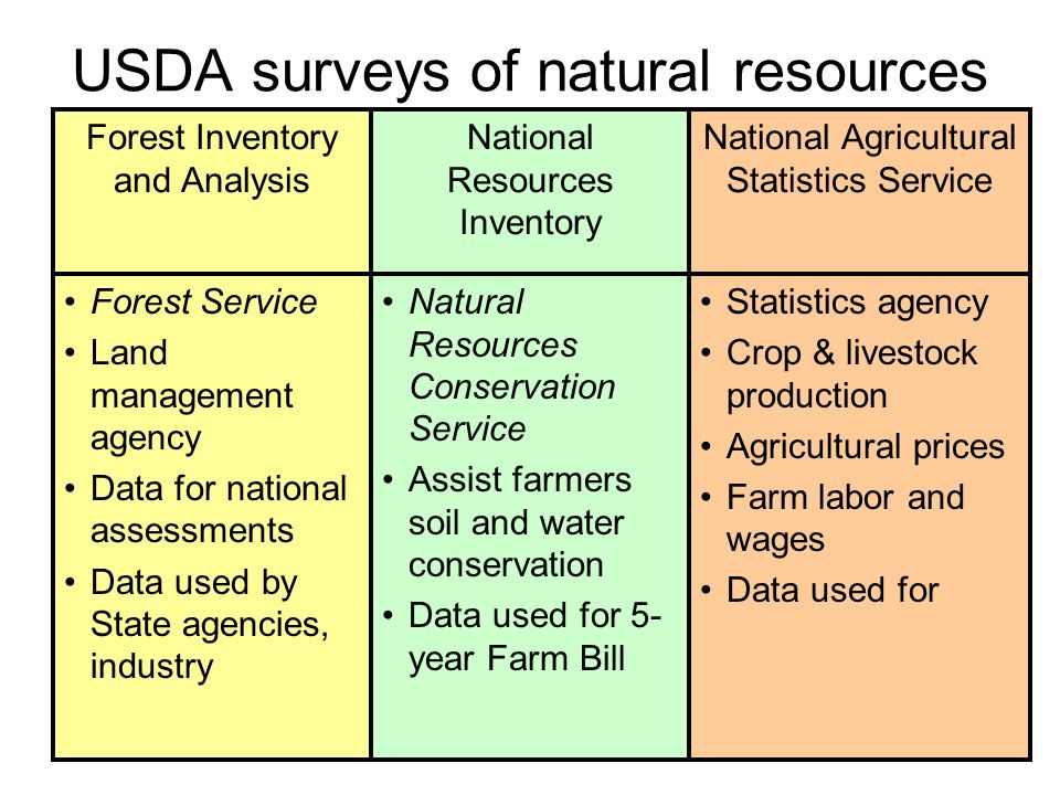29 USDA surveys of natural resources Forest Service Land management agency Data for national assessments Data used by State agencies, industry Forest Inventory and Analysis Natural Resources Conservation Service Assist farmers soil and water conservation Data used for 5- year Farm Bill National Resources Inventory Statistics agency Crop & livestock production Agricultural prices Farm labor and wages Data used for National Agricultural Statistics Service