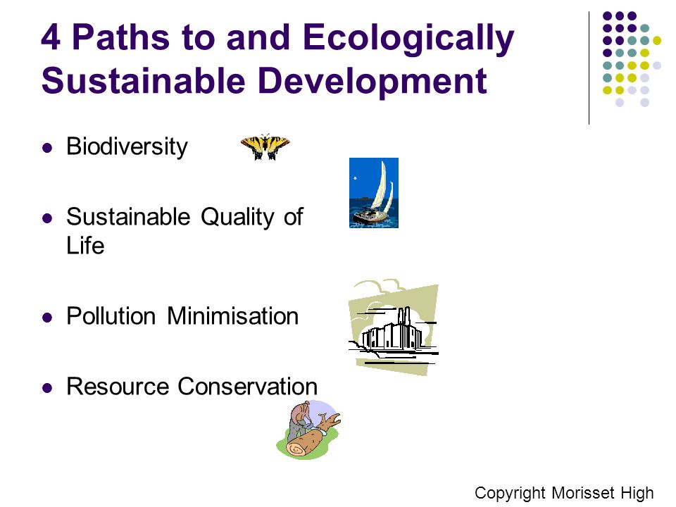 4 Paths to and Ecologically Sustainable Development Biodiversity Sustainable Quality of Life Pollution Minimisation Resource Conservation Copyright Morisset High