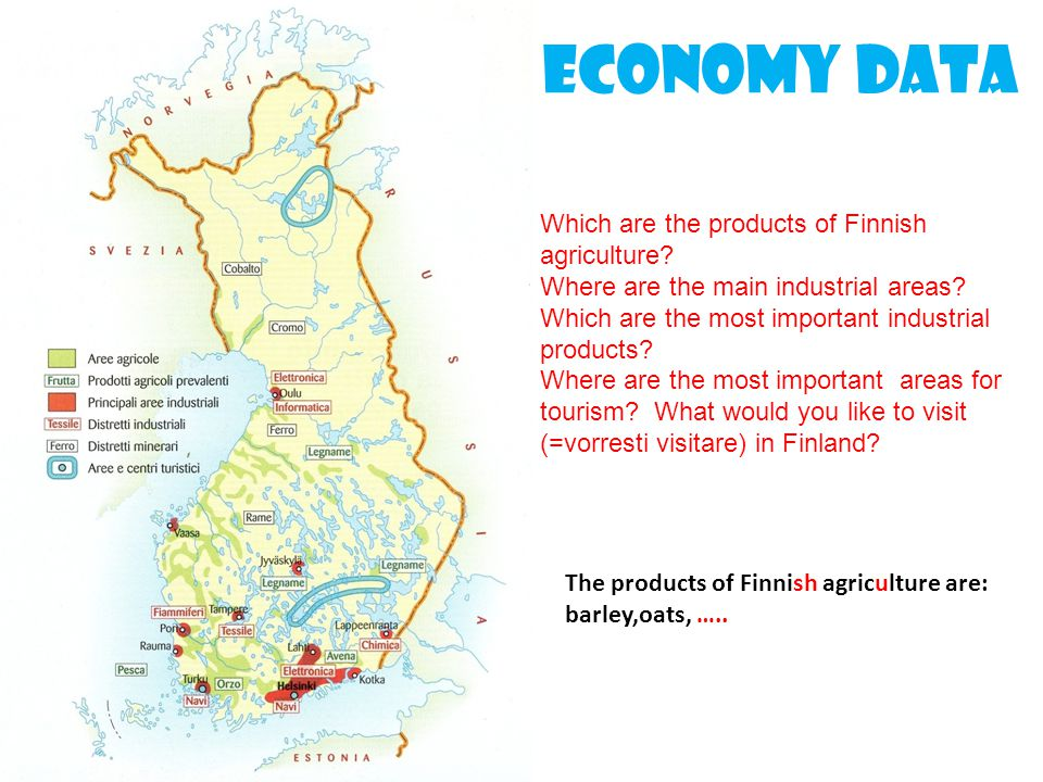 Economy data Which are the products of Finnish agriculture? Where are the main industrial areas? Which are the most important industrial products? Whe