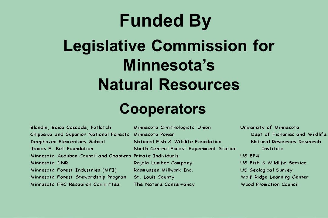 Cooperators Funded By Legislative Commission for Minnesota's Natural Resources