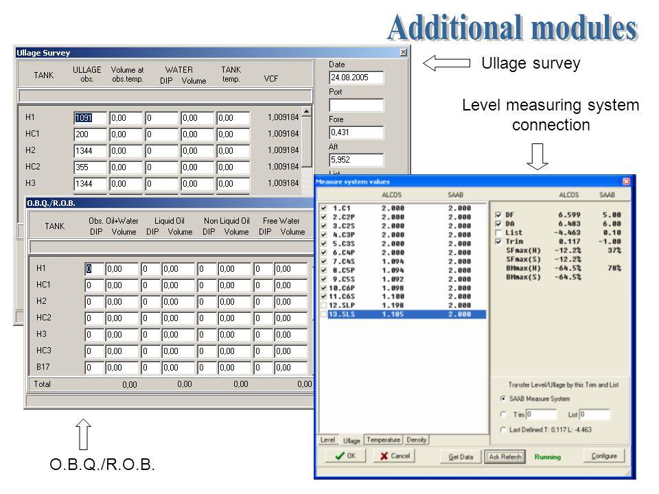 Ullage survey O.B.Q./R.O.B. Level measuring system connection