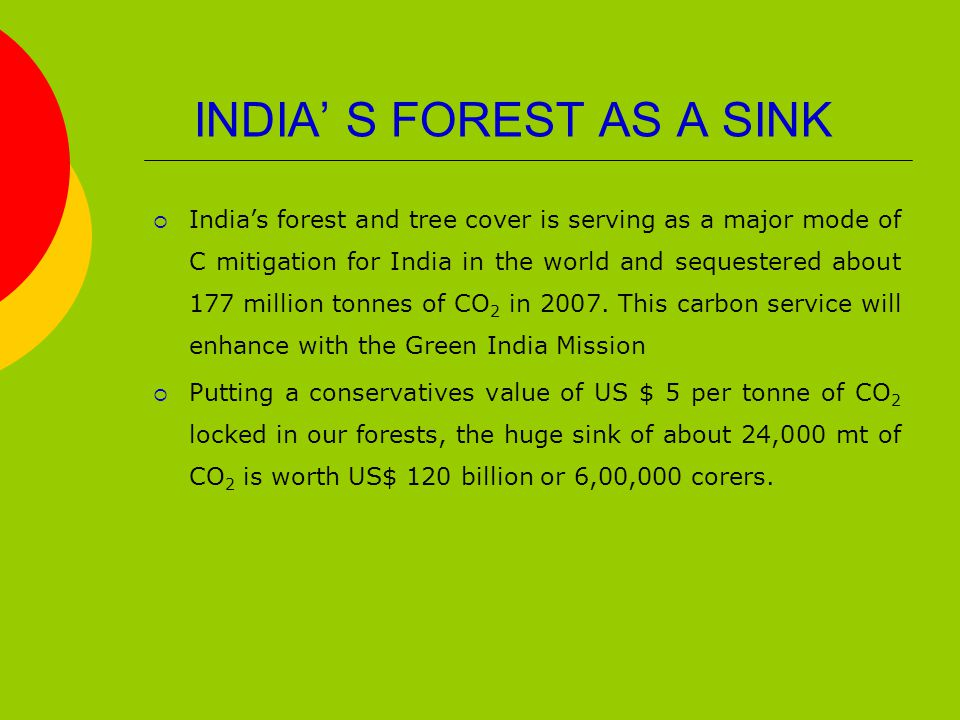 INDIA' S FOREST AS A SINK  India's forest and tree cover is serving as a major mode of C mitigation for India in the world and sequestered about 177 million tonnes of CO 2 in 2007.
