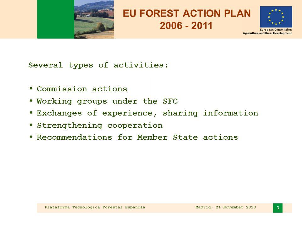 Plataforma Tecnologica Forestal Espanola Madrid, 24 November 2010 3 Several types of activities: Commission actions Working groups under the SFC Exchanges of experience, sharing information Strengthening cooperation Recommendations for Member State actions EU FOREST ACTION PLAN 2006 - 2011