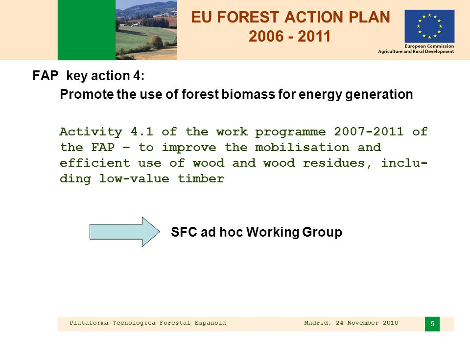 Plataforma Tecnologica Forestal Espanola Madrid, 24 November 2010 6 Mobilisation and efficient use of forest biomass  Overview of forest biomass potential  Mapping good practices on wood mobilisation  Emphasis on: - role of forest owners - sustainability and supply - identifying successful instruments to foster sustainable mobilisation  Conclusions and recommendations  Report approved by the SFC December 2008;  http://ec.europa.eu/agriculture/fore/publi/sfc_wgii_final_report_0720 08_en.pdf http://ec.europa.eu/agriculture/fore/publi/sfc_wgii_final_report_0720 08_en.pdf  formal opinion of the SFC on wood mobilisation December 2008 EU Forest Action Plan: SFC Working group on mobilisation and efficient use of wood and wood residues for energy generation