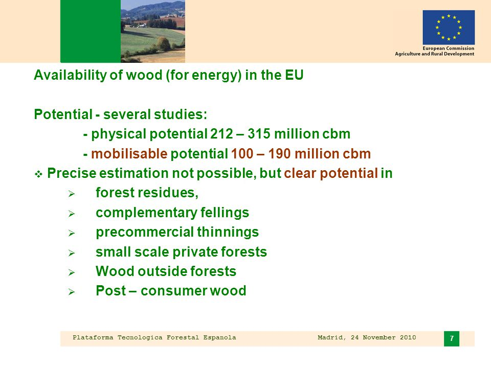 Plataforma Tecnologica Forestal Espanola Madrid, 24 November 2010 8 Working Group report – main results Availability of wood for energy in the EU  Strong increase in wood demand forecasted  Growing competition between energy and raw material uses  Synergies in mobilising wood for energy and raw materials  Already higher direct use for energy than assumed  Data shortcomings