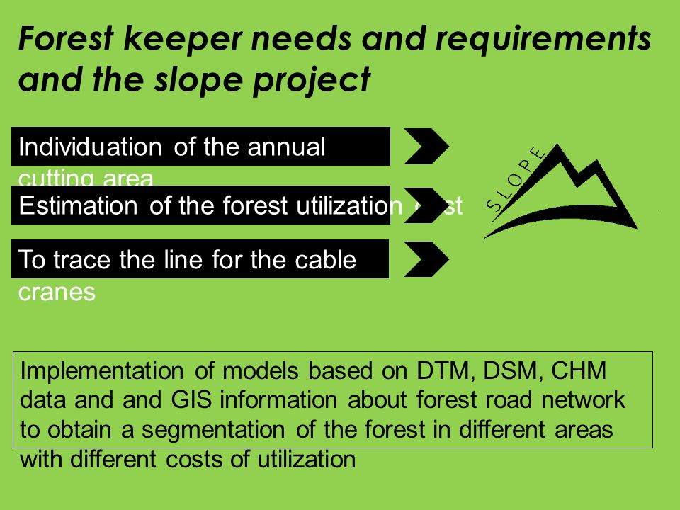 Individuation of the annual cutting area Estimation of the forest utilization cost To trace the line for the cable cranes Forest keeper needs and requirements and the slope project Implementation of models based on DTM, DSM, CHM data and and GIS information about forest road network to obtain a segmentation of the forest in different areas with different costs of utilization