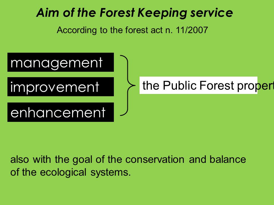 management improvement enhancement the Public Forest property also with the goal of the conservation and balance of the ecological systems.