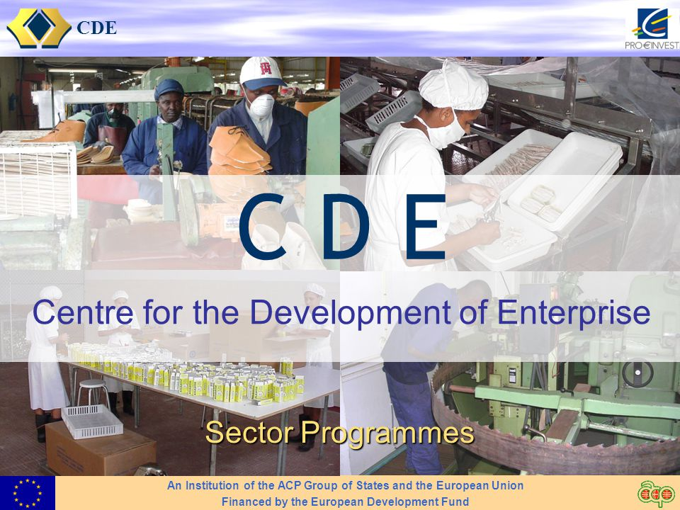 CDE Centre for the Development of Enterprise Sector Programmes An Institution of the ACP Group of States and the European Union Financed by the European Development Fund