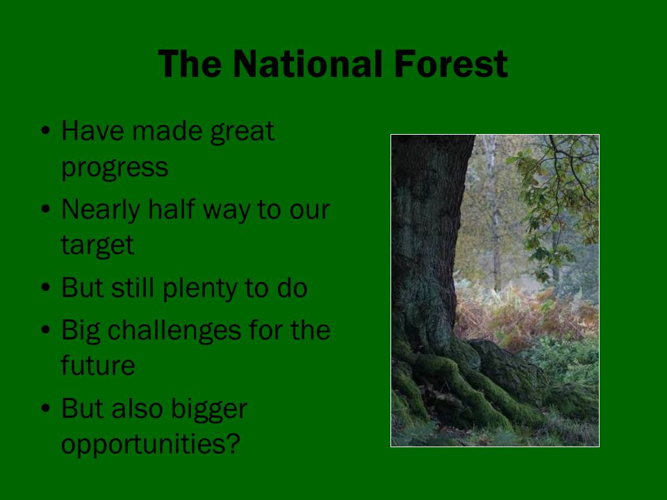 The National Forest Have made great progress Nearly half way to our target But still plenty to do Big challenges for the future But also bigger opportunities