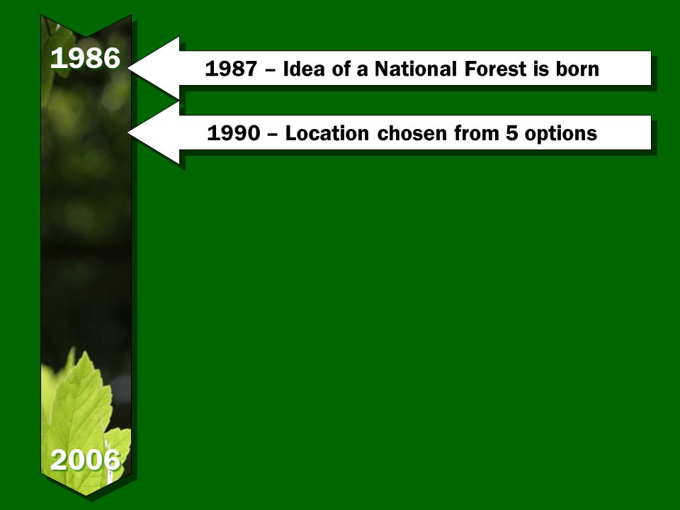 – Idea of a National Forest is born 1990 – Location chosen from 5 options