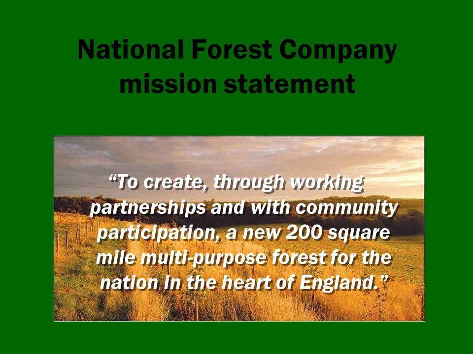 The National Forest Have made great progress Nearly half way to our target But still plenty to do Big challenges for the future But also bigger opportunities?