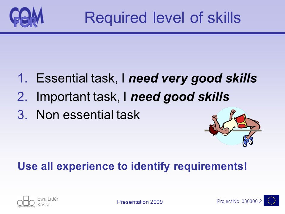 Ewa Lidén Kassel Project No. 030300-2 Presentation 2009 Required level of skills 1.Essential task, I need very good skills 2.Important task, I need go