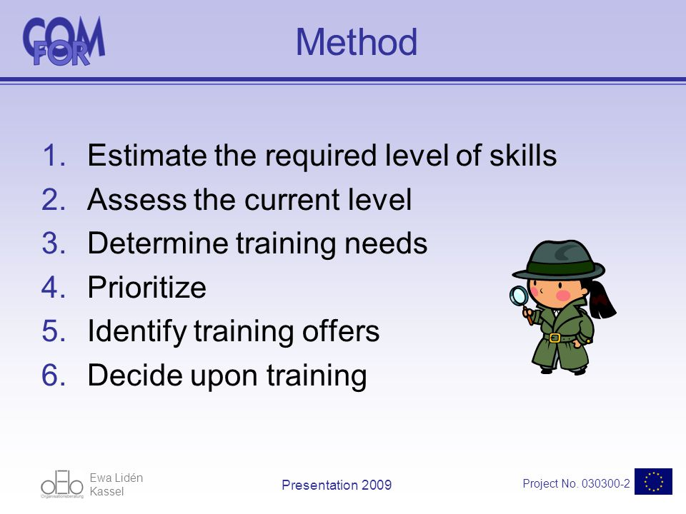 Ewa Lidén Kassel Project No. 030300-2 Presentation 2009 Method 1.Estimate the required level of skills 2.Assess the current level 3.Determine training