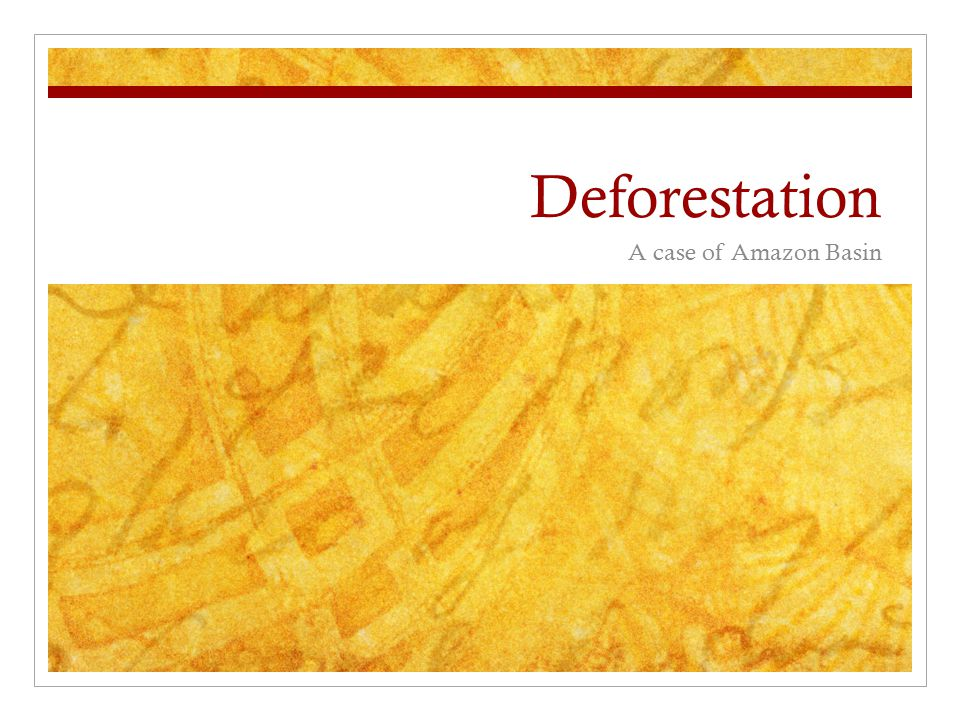 Deforestation A case of Amazon Basin