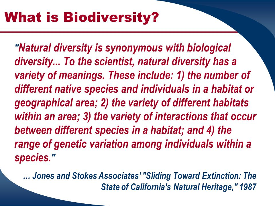 What is Biodiversity. Biological diversity, simply stated, is the diversity of life...