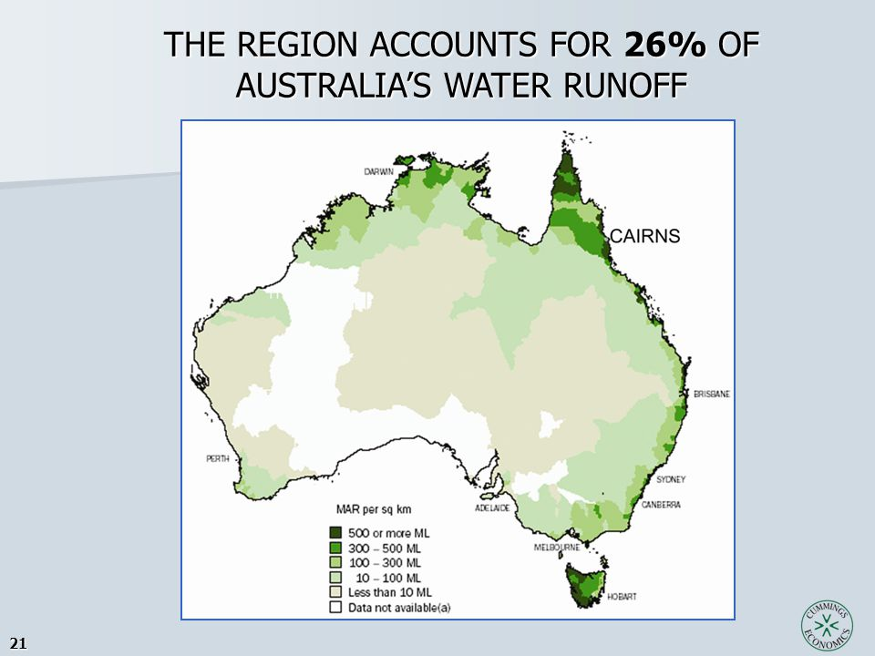 21 THE REGION ACCOUNTS FOR 26% OF AUSTRALIA'S WATER RUNOFF