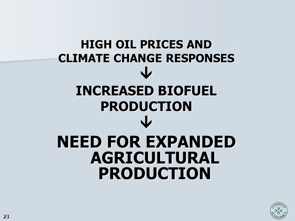 23 HIGH OIL PRICES AND CLIMATE CHANGE RESPONSES  INCREASED BIOFUEL PRODUCTION NEED FOR EXPANDED AGRICULTURAL PRODUCTION