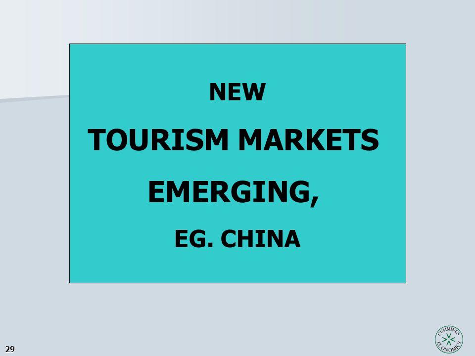 29 NEW TOURISM MARKETS EMERGING, EG. CHINA