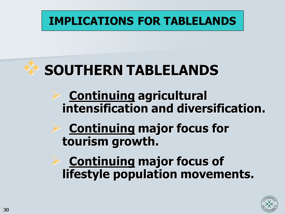 30  SOUTHERN TABLELANDS  Continuing agricultural intensification and diversification.