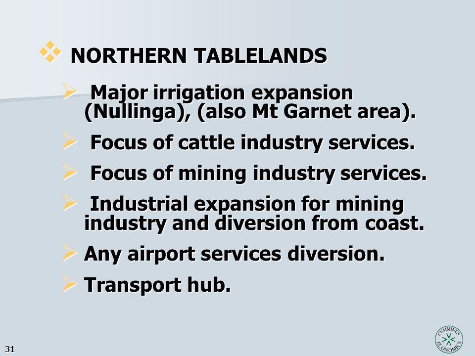 31  NORTHERN TABLELANDS  Major irrigation expansion (Nullinga), (also Mt Garnet area).