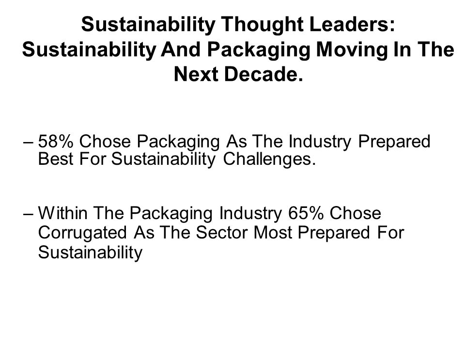 –58% Chose Packaging As The Industry Prepared Best For Sustainability Challenges.