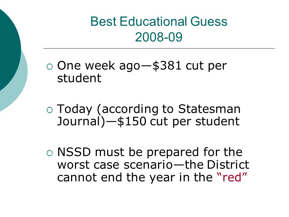 Best Educational Guess 2008-09  One week ago—$381 cut per student  Today (according to Statesman Journal)—$150 cut per student  NSSD must be prepar