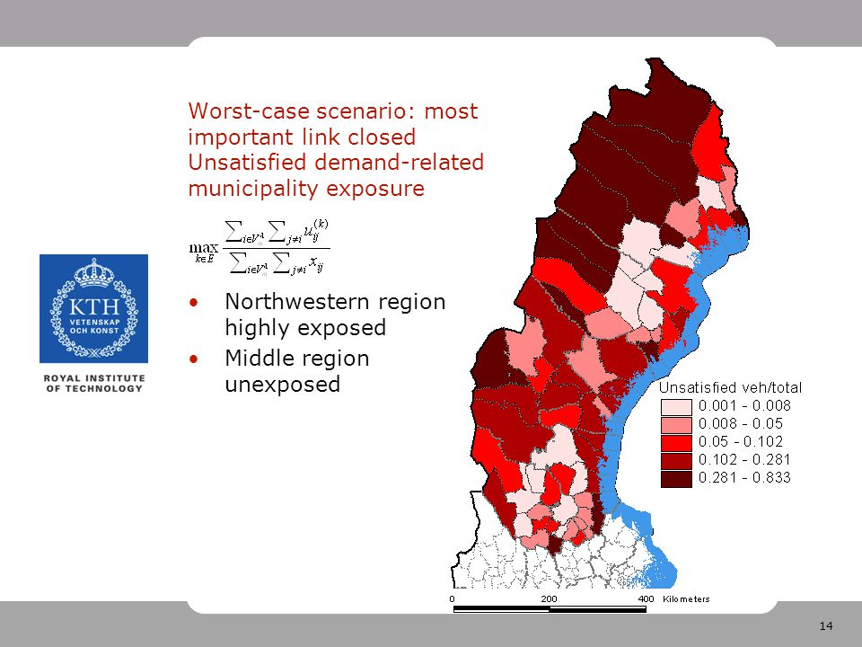 14 Worst-case scenario: most important link closed Unsatisfied demand-related municipality exposure Northwestern region highly exposed Middle region unexposed