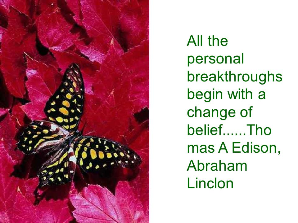 All the personal breakthroughs begin with a change of belief......Tho mas A Edison, Abraham Linclon