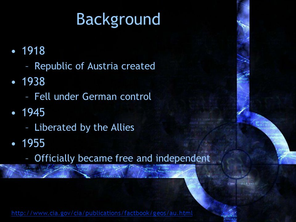 Background 1918 –Republic of Austria created 1938 –Fell under German control 1945 –Liberated by the Allies 1955 –Officially became free and independent http://www.cia.gov/cia/publications/factbook/geos/au.html