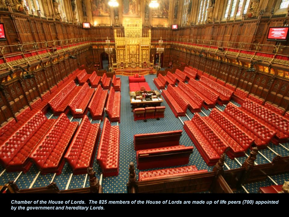 Chamber of the House of Commons. The parliament has two houses.